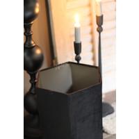 Zwarte velvet lampenkap Hexagon 6-hoek 30 cm