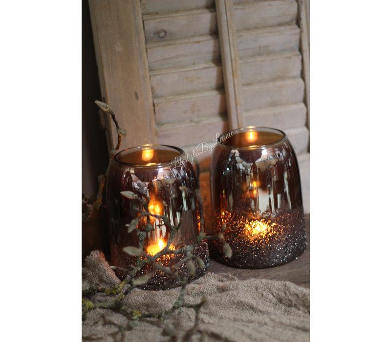 Windlicht met spikkels Amber bruin 17 cm