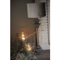 Velvet cilinder lampenkap Zinc taupe 25 cm