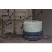 Brede stompkaars rustic pastel green 15 cm