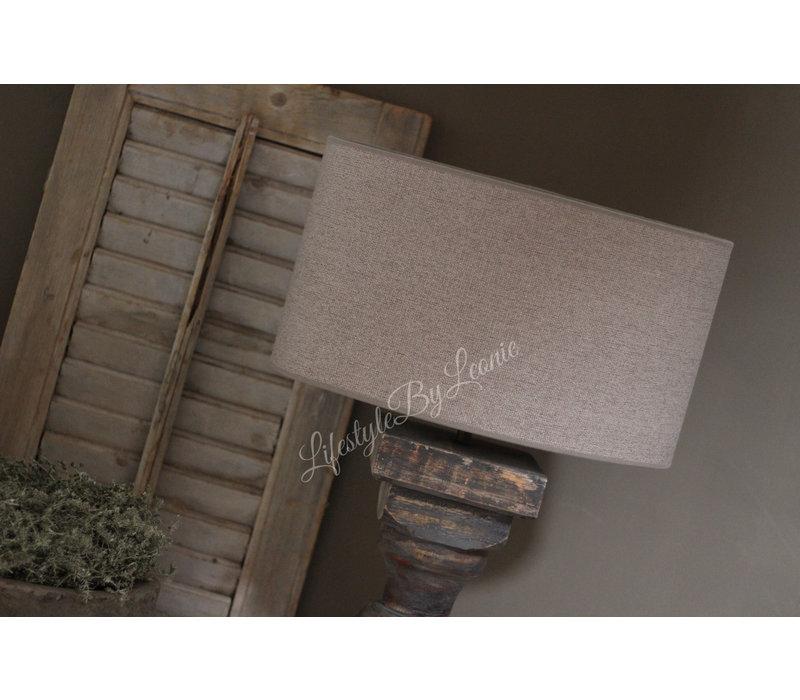 Grote ovale lampenkap ruw linnen Leem 40 cm