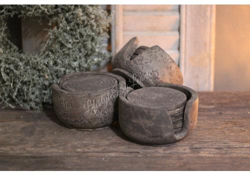 Ronde houten onderzetters met houder Old grey