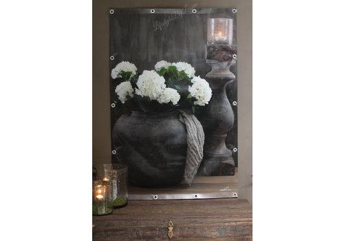 Tuinposter Aura Peeperkorn kruik / hortensia 180cm