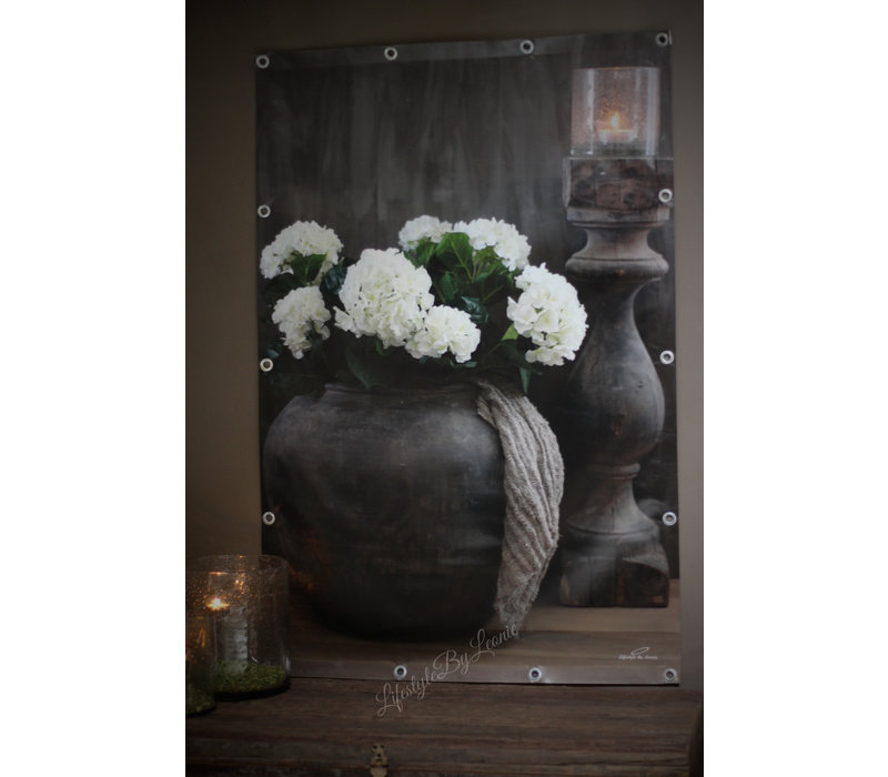 Tuinposter Aura Peeperkorn kruik en Hortensia 120 cm