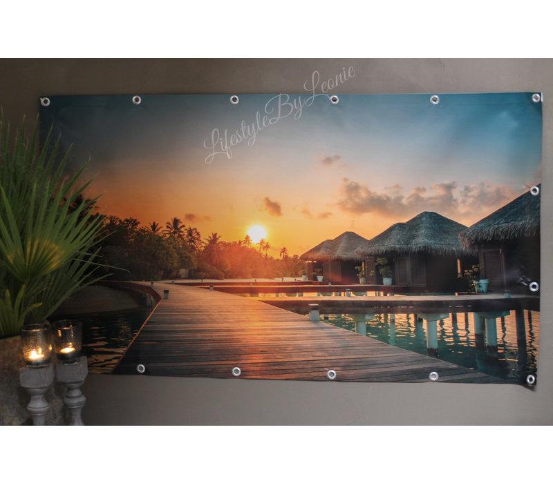 Tuinposter Malediven water villa's 140 cm
