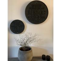 Wanddecoratie Dubbeltje black wash 30 cm