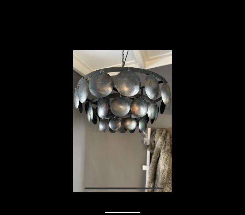 Metalen Old black schijfjeslamp - 60cm