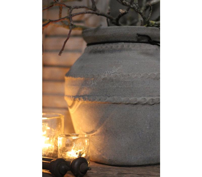 Stenen kruik dubbele ribbelrand Old grey 31 cm