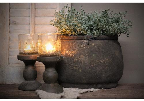 Ovale stenen pot Classy black 25 cm