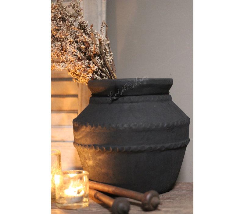 Stenen kruik dubbele ribbelrand Black 26 cm