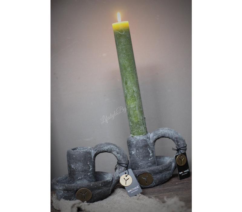 Brynxz stenen kandelaar dinerkaars Nostalgie 16 cm