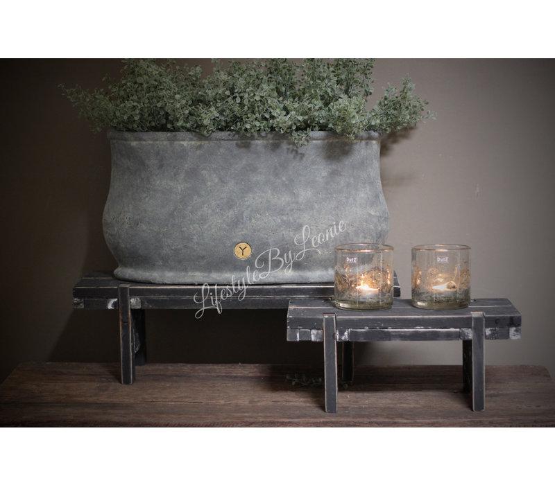 Vensterbankkrukje Black wash 58 cm