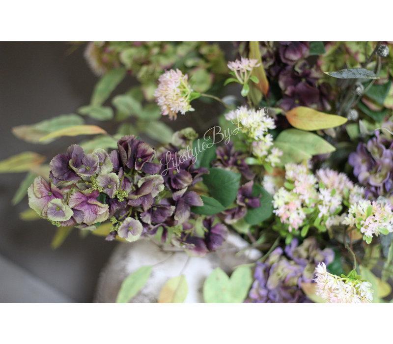 Brynxz zijden Hortensia tak old purple 97 cm