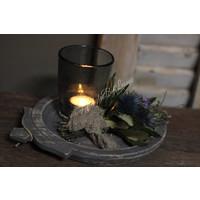 Cadeauset met Indiase plate, toef en windlicht
