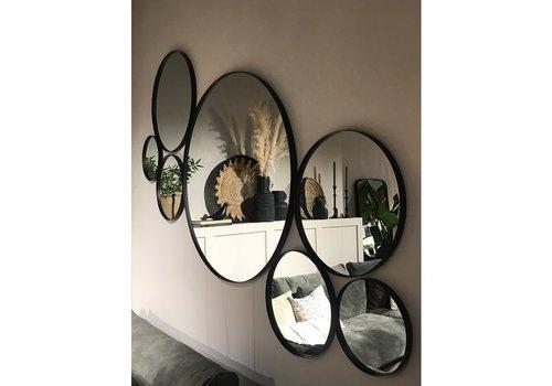 Houten zwarte ronde spiegel 60 cm