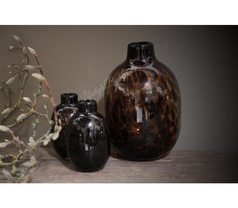 Glazen vaas Luipaard bruin 26 cm