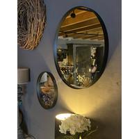 Metalen zwarte ronde spiegel 30 cm