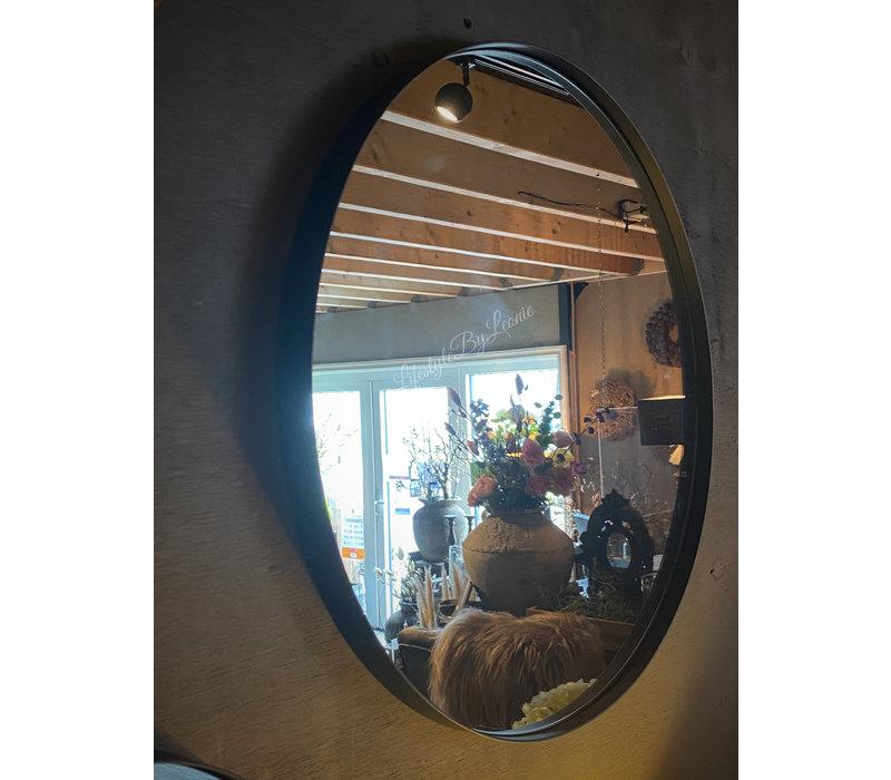 Metalen zwarte ronde spiegel 50 cm