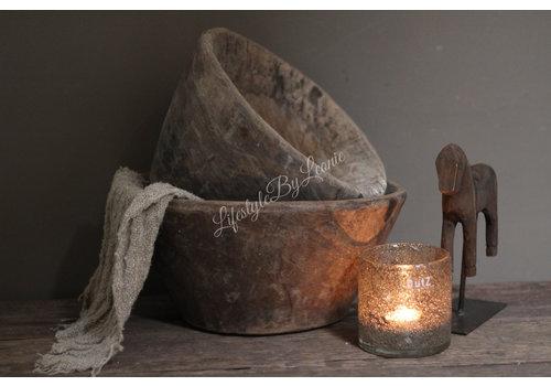 Oude houten vijzel pot - maat L
