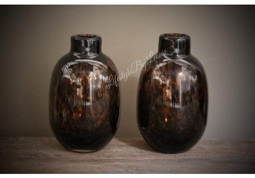 Glazen vaas Luipaard bruin 16cm