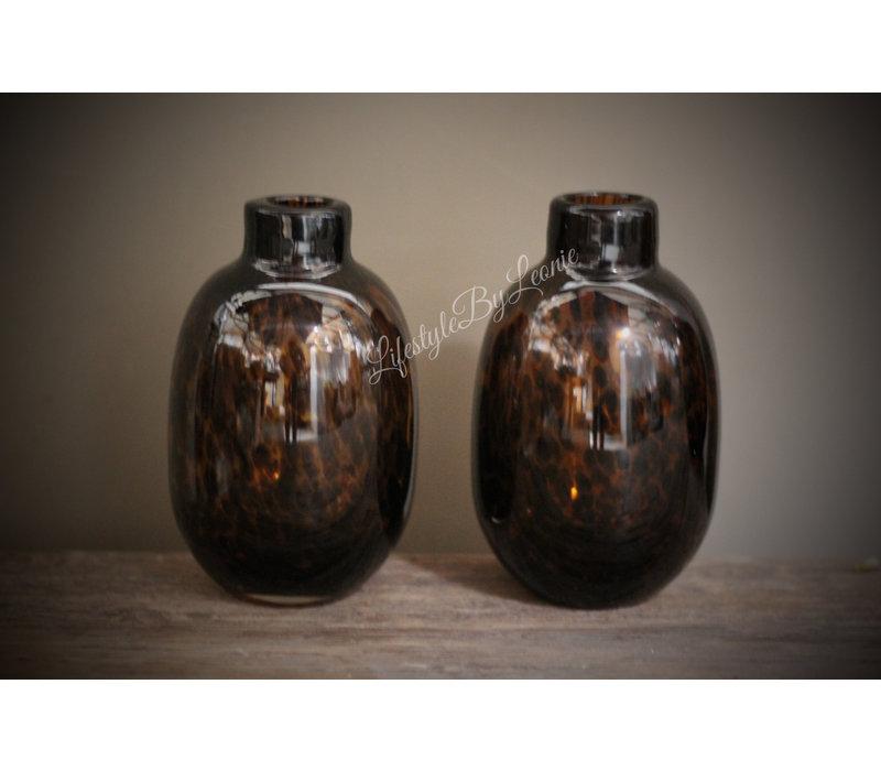 Glazen vaas Luipaard bruin 16 cm