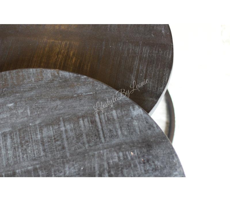 Set met twee ronde tafels black wash 76 / 60 cm