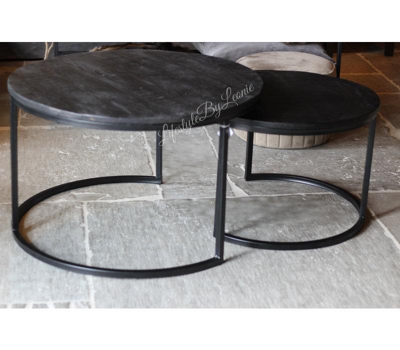 Ronde tafels set van 2 'Black wash' 76 / 60 cm