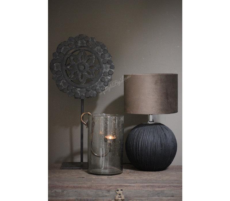 Stenen kruik lampvoetje zwart 28,5 cm