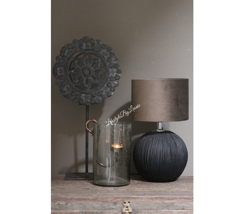 Brynxz velvet cilinder lampenkap Chocolat Grey 20 cm