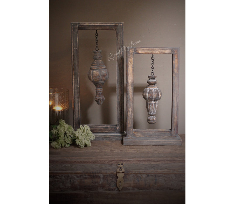 Houten frame met houten ornament 40 cm