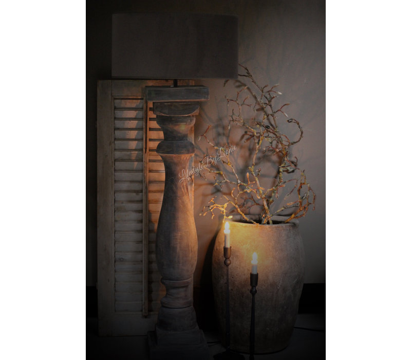 Velvet cilinder lampenkap Ovaal  Zinc taupe 46 cm