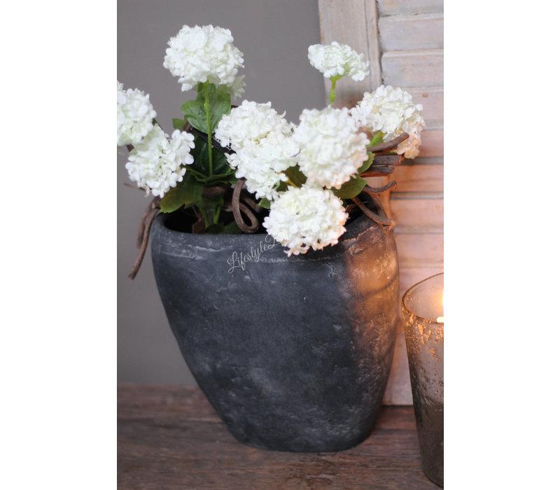 Stenen ovale hoge pot Black wash 30 cm