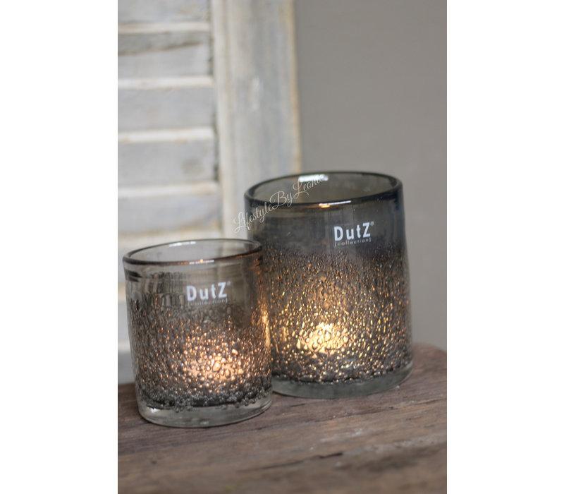 DUTZ cilinder windlicht met bubbels old grey 10 cm