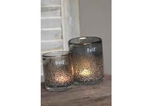 Dutz DUTZ cilinder windlicht met bubbels old grey 13 cm