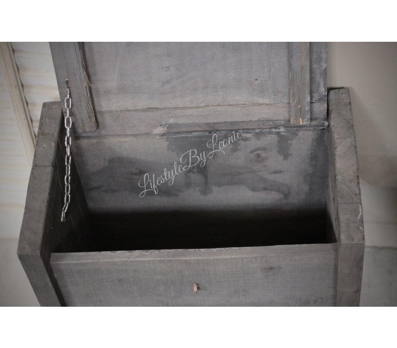 Houten kist Himalaya grey black 46 cm