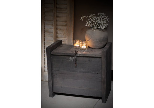 Houten himalaya kist grey/black 46cm