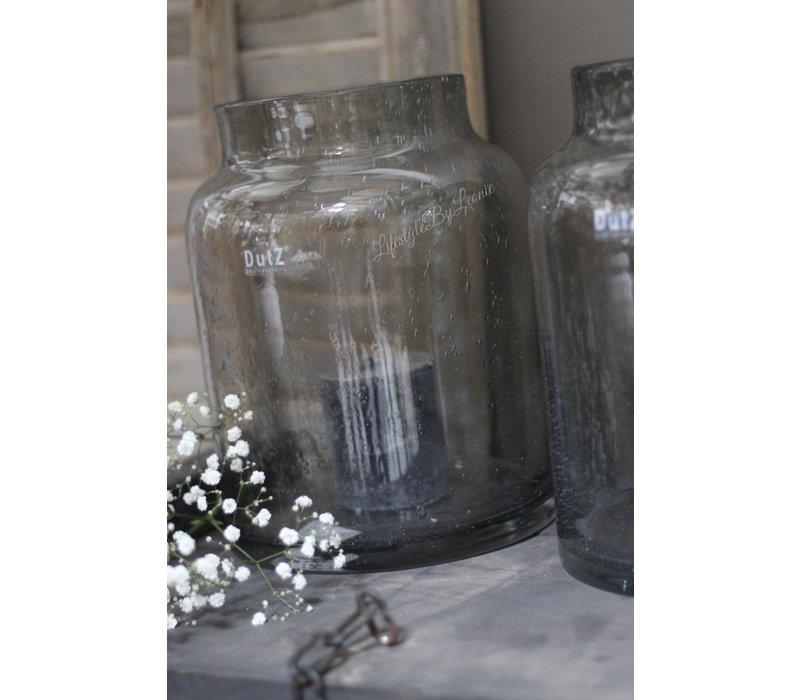 DUTZ vaas / windlicht grey bubbels 26 cm