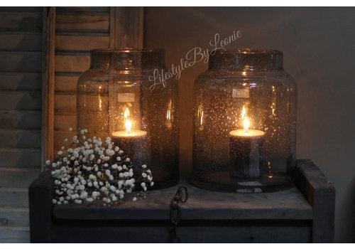 Dutz vaas / windlicht grey bubbels 26cm