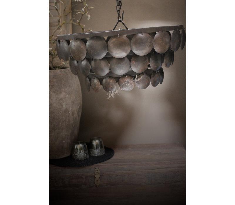 Metalen Old black schijfjes hanglamp 60 cm