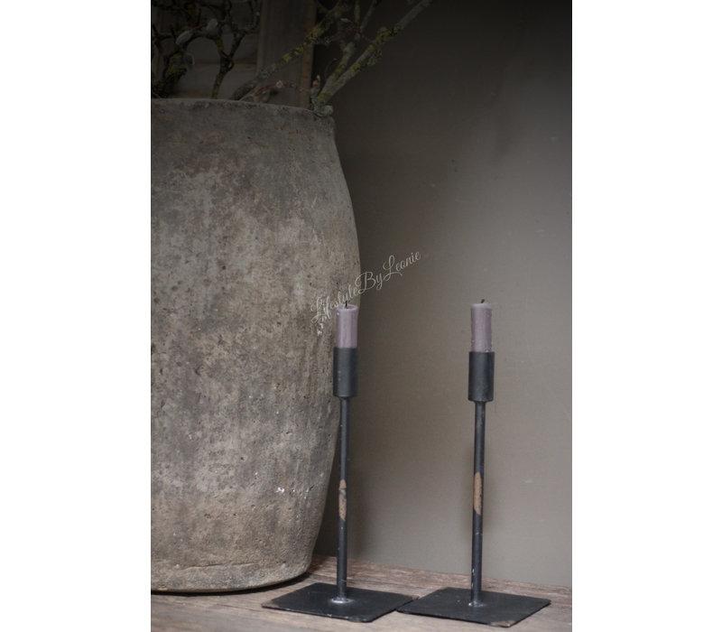 Zwart metalen kandelaar dinerkaars 26 cm
