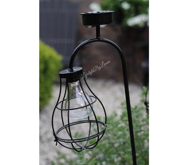 Solar draad tuinlamp lantaarn op prikker 90 cm