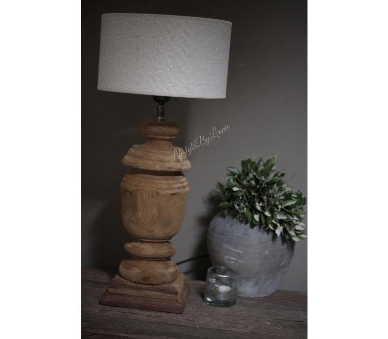 Teakhouten baluster lampvoet Bol 45 cm