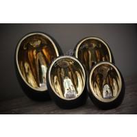 Zwarte waxinelichthouder Egg Glam 13 cm