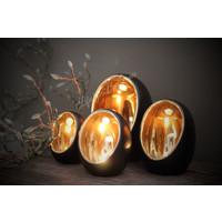 Zwarte waxinelichthouder Egg Glam 16 cm