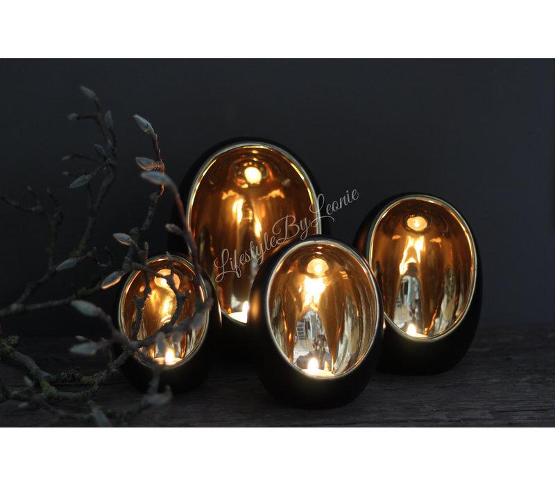 Zwarte waxinelichthouder Egg Glam 21 cm