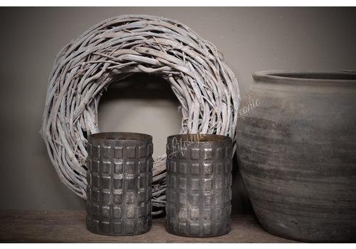 Sobere glazen waxinelichthouder Blocks black 21 cm