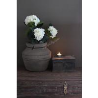 Zijden Hortensia in stenen pot White