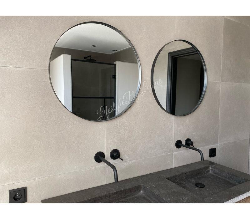Metalen zwarte ronde spiegel 60 cm
