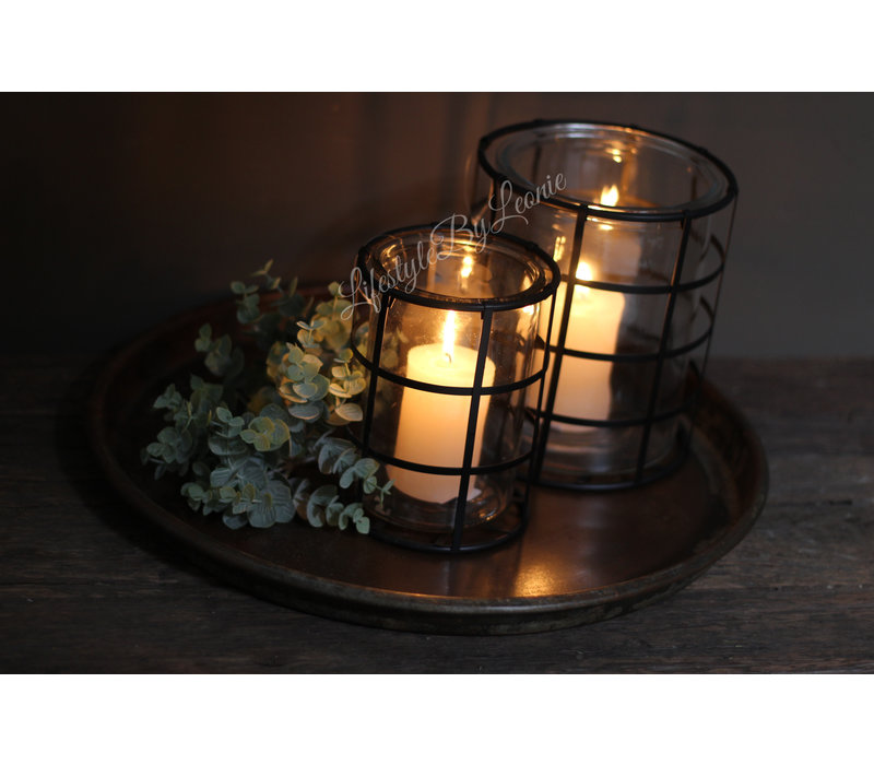 Glazen windlicht in metalen houder Blocks 18,5 cm