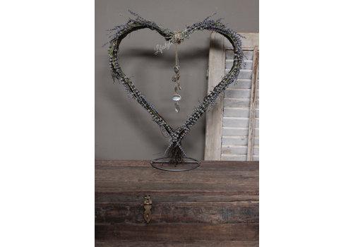 Opgemaakt hart frame staand Lavendel / schelp